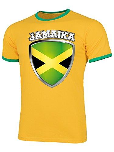 Jamaika 5499 Fussball Fanshirt Fan Shirt Tshirt Fanartikel Artikel Männer Herren Ringer T-Shirts Gelb Grün L