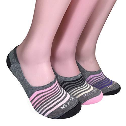 U.S. Polo Assn. Women's 3 Pack Liner Socks, Gray Stripes-5451, 9-11