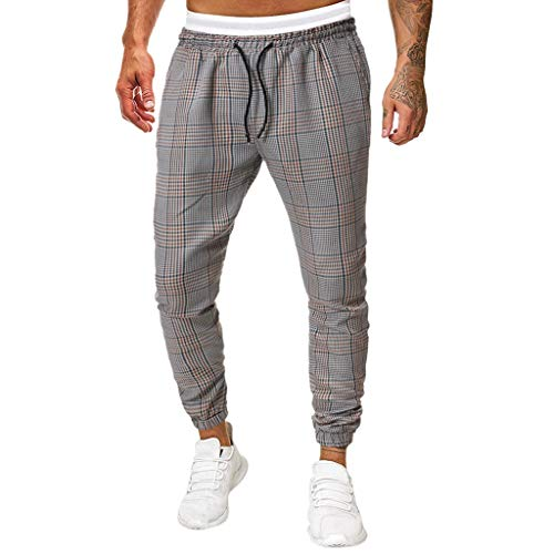 FIRMON-Jeans Herren Loungehose kariert gestreift gerade Sweatpants lang Slim Fit Hose Causal Full Length Hose Trainingsanzug Gr. 31-35, Graue 80er Hose