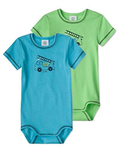 Sanetta Body de media manga para bebé en paquete doble de algodón orgánico Verde y turquesa. 2 mes