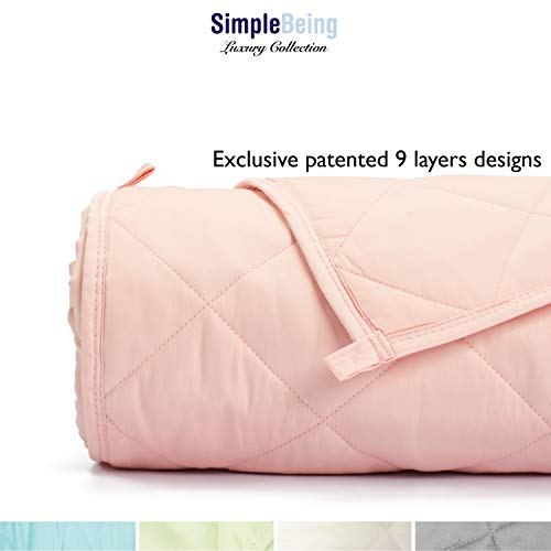 Simple Being Weighted Blanket, 60x80 15lb, Patented 9 Layers Design, Cooling Cotton, Adult Heavy Calming Blanket, Shell Pink