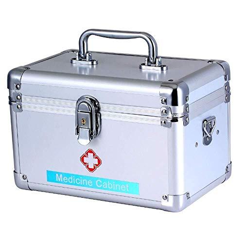 GOXJNG Medizin Box Set Tragbare Medizin-Kasten Abschließbare Erste-Hilfe-Kit Aluminium Notüberlebens Fall Sicherheits-Aufbewahrungsbehälter for Home Reise Arbeitsplatz