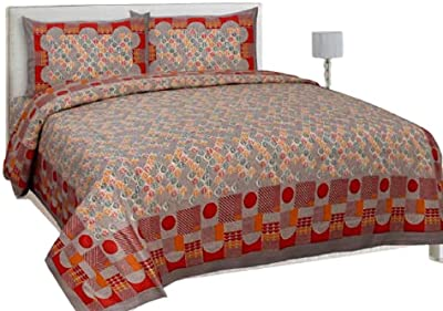 Vinay Cotton - Cotton Double Bed Bedsheet , 100% Cotton Double Bedsheet with 2 Pillow Covers, King Size (Red)