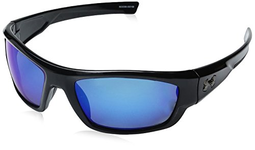 Under Armour Oval Sunglasses, UA Force Storm (ANSI) Shiny Black Frame/Gray Polarized/Blue Mirror Lens, M/L