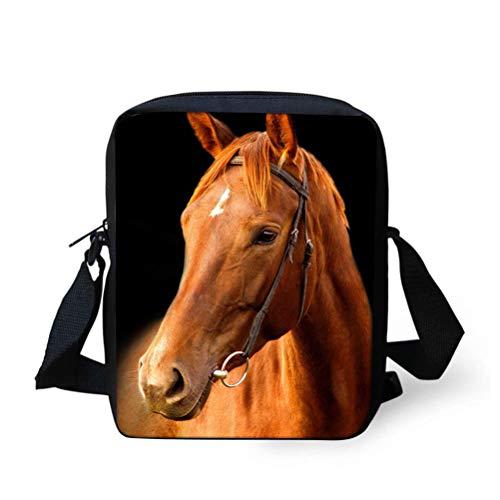 Nopersonality Damen Schultertasche, kleine Umhängetasche, Messenger-Tasche, Braun - pferd - Größe: Small