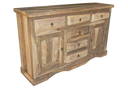 MASSIVMOEBEL24.DE Sideboard Palisander Sheesham Holz geölt Vintage 150x40x90 cm grau Leeds #11