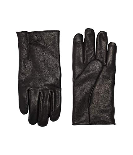 UGG Mens Tabbed Splice Vent Leather Tech Glove, Black, Size Medium