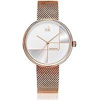 SHENGKE Relojes de Mujer Reloj de Mujer de Acero Inoxidable Correa de Malla de Acero Inoxidable Movimiento de Cuarzo japonés Impermeable Oro Rosa