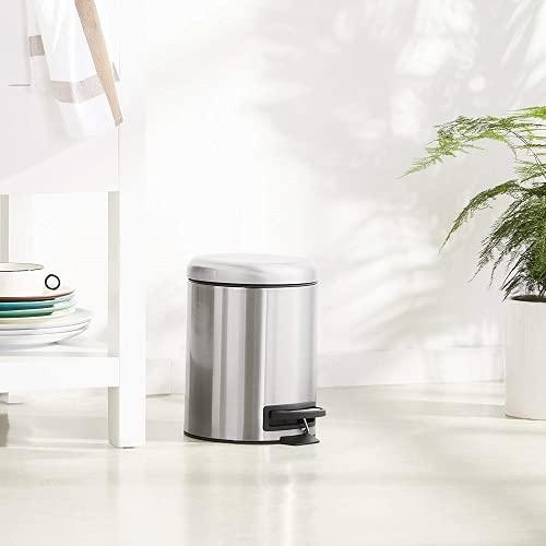 Amazon Basics - Pattumiera rotonda con pedale, in acciaio inox, 5 l