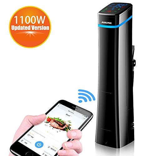 AUKUYEE Sous Vide 1100W Cottura Sottovuoto Funzione Wi-Fi Fornello di precisione Slow Cooker Circolatore di Immersione Controllo Preciso della Temperatura e del Tempo Display LCD Digitale(Nero)