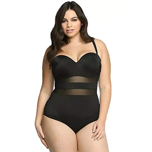 Womans Plus Size 16W Swimsuit, Built in Cup Tummy Control Black MESH Bathing Suit