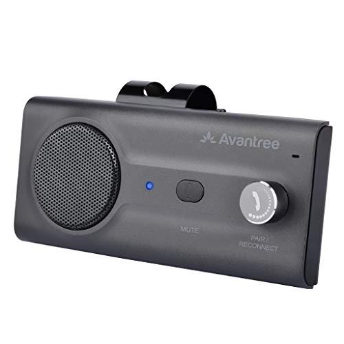 Avantree CK11 Kfz Bluetooth 5.0 Freisprecheinrichtung Freisprechanlage Car Kit für Sonnenblende, Lauter Lautsprecher, Siri Google Assistant Unterstützung, Lautstärkeregler, Auto Power On – Titan