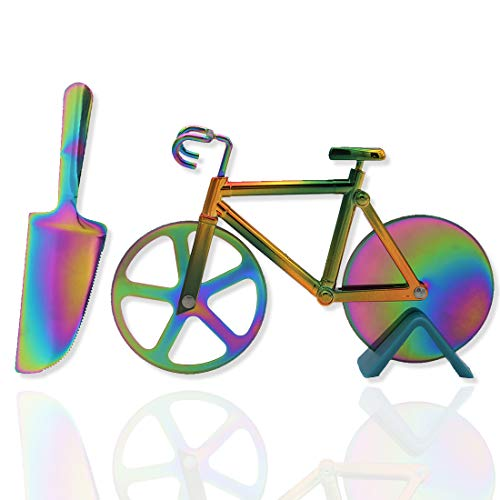 Bicycle Pizza Cutter Wheel Non-Stick Dual Cutting Wheels with Stand and Stainless Steel Pizza Server,Rainbow Kitchen Bike Pizza Slicer - Kitchen Gadgets Cool Gift