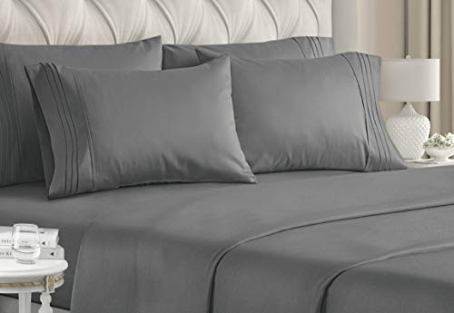 Queen Size Sheet Set - 6 Piece Set - Hotel Luxury Bed Sheets - Extra Soft - Deep Pockets - Easy Fit - Breathable & Cooling Sheets - Wrinkle Free - Dark Gray - Grey Bed Sheets - Queens Sheets - 6 PC