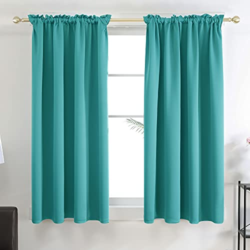 Deconovo Teal Curtains Blackout Drapes 63 Inch Long - Thermal Insulated Curtain Panels for Bedroom, 42W x 63L Inch, Teal, 1 Pair