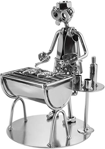 BRUBAKER Schraubenmännchen Barbecue Grill - Grillmeister Fisch - Handarbeit Eisenfigur Metallmännchen - Metallfigur Geschenkidee für Köche und Griller