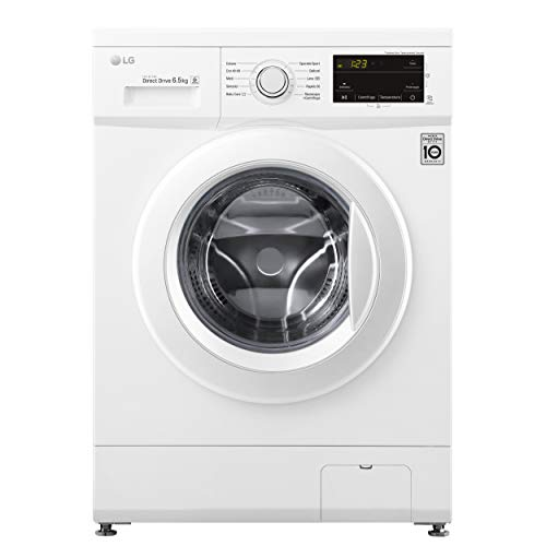 LG F2J3WN3WE - Lavadora fina de carga frontal de 6,5 kg, libre instalación, 1200 RPM, 6 Motion Direct Drive, Motor Inverter, Smart Diagnosis, 44 x 60 x 85 cm, color blanco, modelo 2021