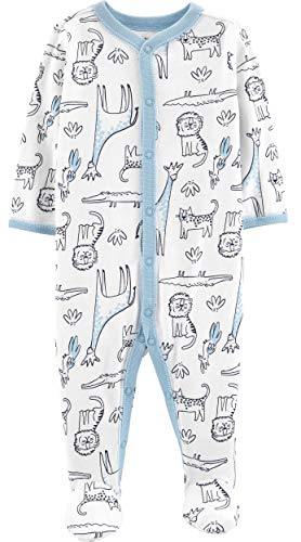 Price comparison product image Carters Baby Boys' Cotton Zip-Up Sleep N Play (6 Months,  Safari Baby Blue)