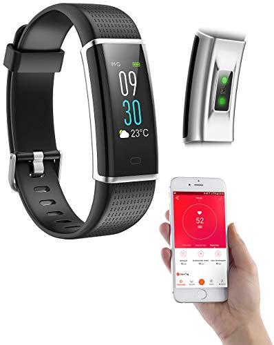 PEARL Pulsuhren: Fitness-Armband, GPS-Streckenverlauf, Puls, XL-Farb-Display, App, IP67 (Smartband)