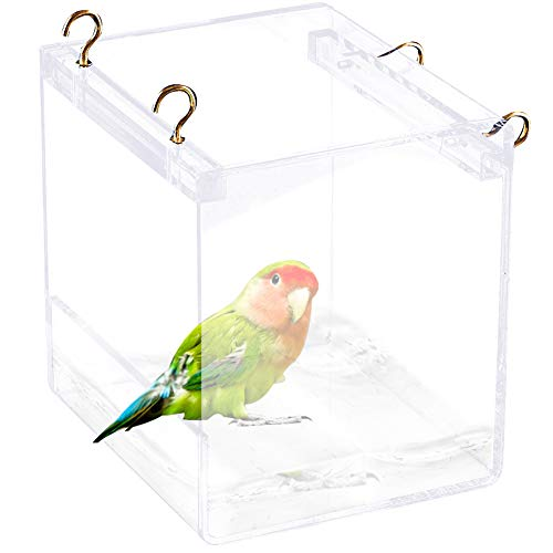Tfwadmx Bird Bathtub for Cage Parrot Bath Shower Box Bowl No-Leakage Design with Hooks for Small Bird Parrot Myna Budgie Lovebird