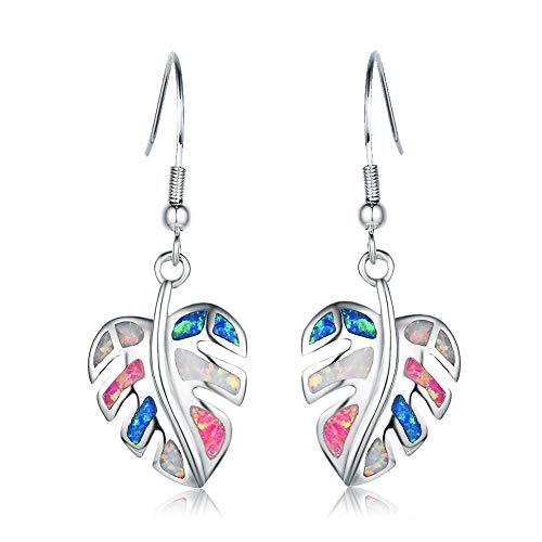 ECOLVANT Drop Earrings for Women Sterling Silver Earrings Opal Colorful Leaves Dangle Earrings for Women Girls Birthday Party Fashion Opal Earrings (Beautiful earrings)