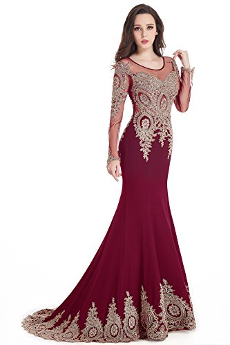2016 Crew Neck Mermaid Burgundy Lace Applique Evening Prom Dress Long Sleeves