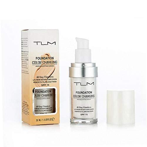 1PC de cambio de color de la base líquida de la humedad de la base de maquillaje hidratante ligera de alta cobertura adhesiva base de maquillaje uniforme tono de la piel utensilios de maquillaje
