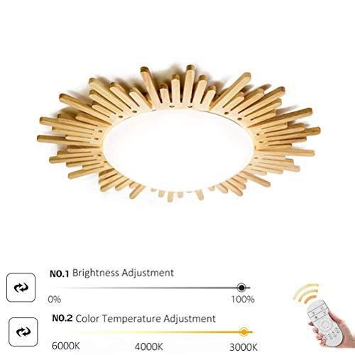 AUNEVN 24W LED Deckenlampe Dimmbar Kinderlampe Kreative Sonne Holz Deckenleuchte Weiß Acryl Schirm Ultradünne Decke Licht mit Fernbedienung für Wohnzimmer Flur Schlafzimmer Gang Küche Studie Leuchten