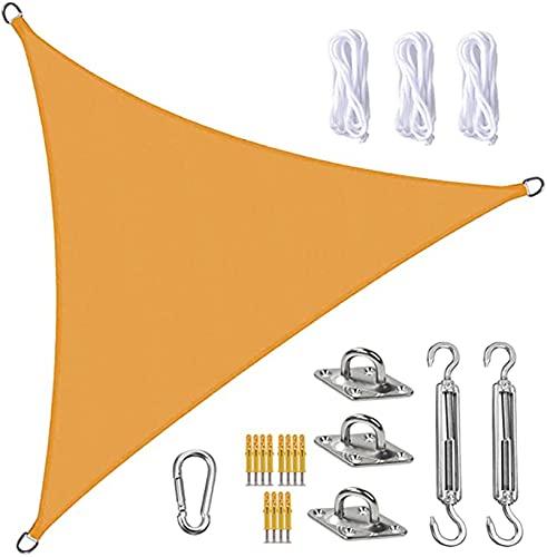 Vela De Sombra Sun Shade Sail Canopy Triangle UV Block Impermeable Sun Shade Tweing Con Kit De Fijación Para Jardín, Patio, Piscina, área De Barbacoa, Mango Amarill(Size:2.4X2.4X2.4m/7.9X7.9X7.9ft)