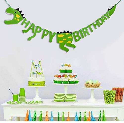 HONGXIN-SHOP Decorazioni di Compleanno di Dinosauro Happy Birthday Banner Decorazione per Festa Party Bambini Toddler Ragazzo Ragazza Verde