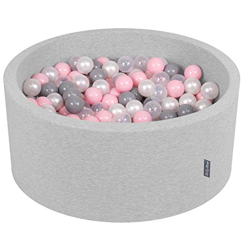 KiddyMoon Bällebad 90X40cm/300 Bälle ∅ 7Cm Bällepool Mit Bunten Bällen Für Babys Kinder Rund, Hellgrau:Perle/Grau/Transparent/Rosa