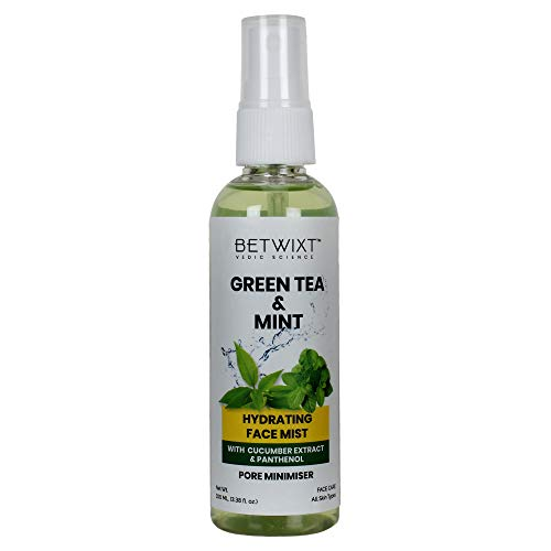 Betwixt Organic Green Tea & Mint Hydrating Face Spray Mist, With Cucumber & Aloe Vera, Set Makeup, Pore Minimizer, Oil Control and Hydrate Skin, All Skin Types, Alcohol Free, 100 ml / 3.38 fl oz