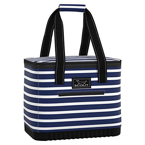 SCOUT The Stiff One Cooler Bag, Insulated, Collapsible, Leak Proof, Lightweight, and Portable Soft Cooler Beach Bag with Hard Bottom in Nantucket Navy Pattern (Multiple Patterns Available)