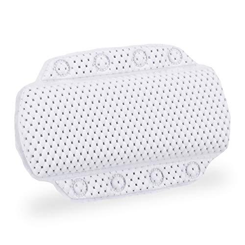 Relaxdays, Blanc Coussin de bain, Oreiller de baignoire, Ventouses, Accessoire bien-être nuque, 19,5 x 30,5 x 3,5 cm, mousse, plastique, 1 élément