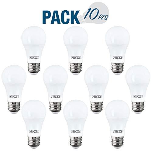 FOCO LED AKSI A19 Equivalente a 100W (1500 lm - Lúmenes) Consume 15W (vatios) LUZ CÁLIDA 3000K E27 - PACK de 10 Focos