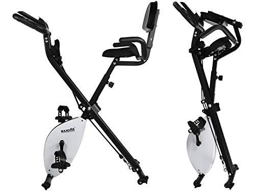 MAXOfit MF-30 X-Bike Fahrrad Heimtrainer, klappbar, Ergometer für zuhause mit Training Gummis, Puls Messung, Rückenlehne und verstellbarem Widerstand