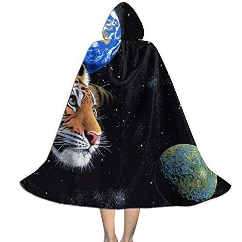 KDU Fashion Disfraz De Mago,Space Stars Tiger Nebula Planetas Tigres Capa De Mago para Nios, Disfraces De Bruja Personalizados para Fiesta De Navidad,138cm