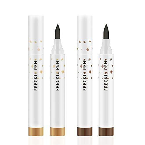 Ownest 2 Colors Freckle Pen,Natural Lifelike Freckle Makeup Pen Magic Freckle Color,Waterproof Longlasting Soft Dot Sopt Pen,for Natural Effortless Sunkissed Makeup (Dark Brown+Light Brown)