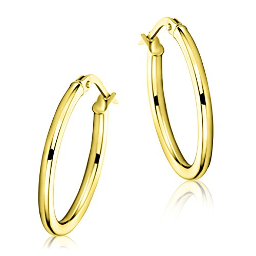 Miore Ohrringe Damen klassische Creolen aus Gelbgold 9 Karat / 375 Gold, ovale Ohrschmuck 24 x 18 mm