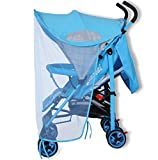Parasol universal para cochecito de bebé con toldo impermeable para cochecito de bebé azul Parasol azul con mosquitera.