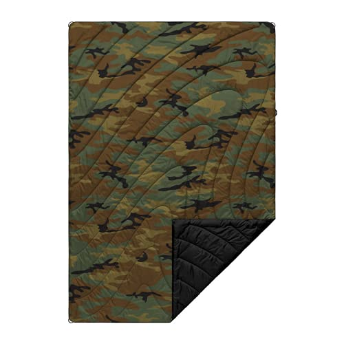 Rumpl The Original Puffy | Printed Outdoor Camping Blanket for Traveling, Picnics, Beach Trips, Concerts | Woodland Camo, 1-Person