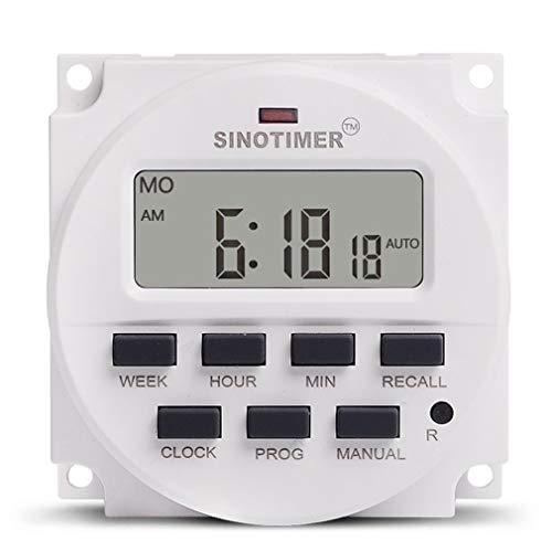 SINOTIMER TM618N-4 12V programmeerbare tijdschakelaar met afteltijdfunctie Wit