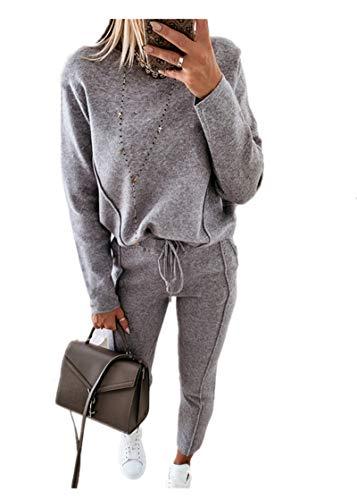 Fliegend Damen Gefütterter Freizeitanzug Casual Hausanzug Zweiteiler Hosenanzug Pullover Lange Hosen Bekleidung Set Lässige Änzuge L