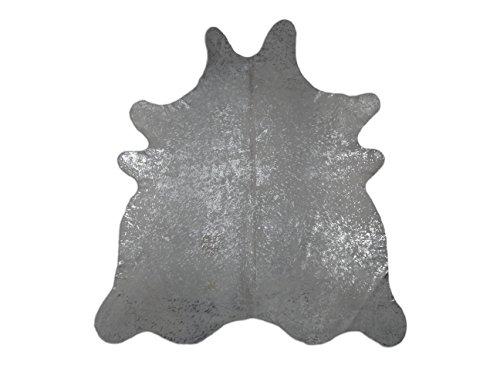 Suggaloaf XXL Kuhfell Rinderfell Cowhide Devore Hellgrau Silber - 225 cm x 200 cm - einmaliges Naturprodukt aus Südamerika
