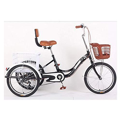 Dreirad Für Erwachsene 3 Rad Cruiser Bike Single Speed Trikes 20 Zoll Räder Mit Rückenlehne Und Frachtkorb Durchschreiten Zum Frauen Männer (Color : Black)