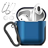 MKEDA Airpods case PC & TPU 2 Layer Design Protection airpods Cover Ultra Hybrid Air Pods Case Shockproof Cute airpods case Cover for airpods 1 Generation and 2019 New airpods (Blue)
