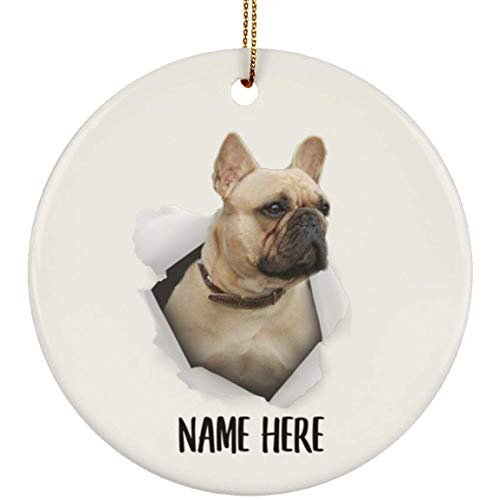 Lovesout Cute French Bulldog Fawn Personalized Name Christmas Tree Ornament Ceramic Circle