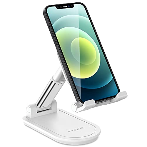 TORRAS Foldable Cell Phone Stand for Desk [Ultra-Portable], Adjustable Phone Holder for Office/Home, Phone Dock Compatible for iPhone 13 12 11 Pro Max X, Samsung Galaxy S20+Ultra Note 10, iPad Mini