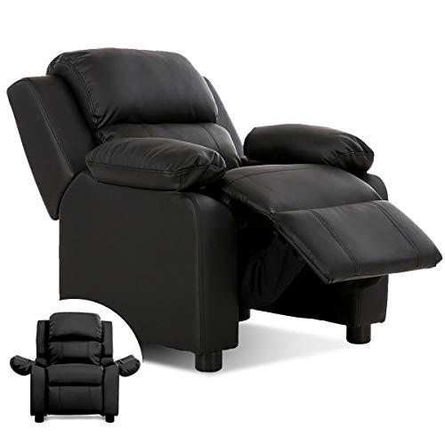 Costzon Kids Recliner, Leather Recliner Chair w/Footrest, Armrest Storage, Headrest & Lumbar Support, Ergonomic Lounge Chair for Living & Gaming Room, Adjustable Recliner Sofa for Boys Girls (Black)