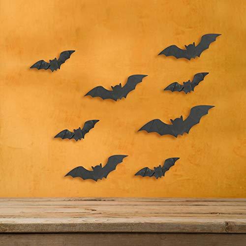 MZMing 80 Stück Halloween Fledermaus Aufkleber 3D Schwarz Fledermäuse Wandaufkleber Wandsticker Wandtattoo Halloween Fledermäuse Deko 4 Verschiedene Gryößen 3D Fledermaus für Halloween Party